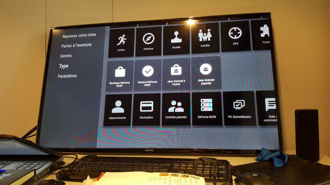 test nvidia shield cloud gaming utilisation fonctionnalités installation menu télé
